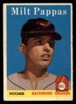 1958 Topps #457   Milt Pappas Front Thumbnail