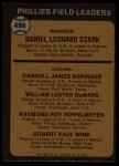 1973 Topps #486 ORA Phillies Field Leaders  -  Danny Ozark / Carroll Beringer / Billy De Mars / Ray Rippelmeyer / Bobby Wine Back Thumbnail