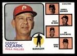 1973 Topps #486 ORA Phillies Field Leaders  -  Danny Ozark / Carroll Beringer / Billy De Mars / Ray Rippelmeyer / Bobby Wine Front Thumbnail