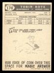 1959 Topps #170  Tobin Rote  Back Thumbnail