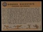 1960 Topps #292  Dodger Backstops  -  Joe Pignatano / John Roseboro Back Thumbnail