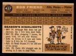 1960 Topps #437   Bob Friend Back Thumbnail