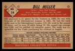1953 Bowman Black and White #54  Bill Miller  Back Thumbnail