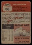 1953 Topps #38   Jim Hearn Back Thumbnail
