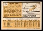 1963 Topps #117 COR Jacke Davis  Back Thumbnail