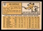 1963 Topps #567 COR Jim Duffalo  Back Thumbnail