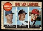 1968 Topps #8  1967 AL ERA Leaders  -  Joe Horlen / Gary Peters / Sonny Siebert Front Thumbnail