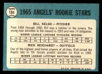 1965 Topps #194   -  Bill Kelso / Rick Reichardt Angels Rookies Back Thumbnail