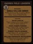 1973 Topps #12 BRN Padres Field Leaders  -  Don Zimmer / Dave Garcia / Johnny Podres / Bob Skinner / Whitey Wietelemann Back Thumbnail