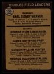1973 Topps #136 ORG Orioles Field Leaders  -  Earl Weaver / George Bamberger / Jim Frey / Billy Hunter / George Staller Back Thumbnail
