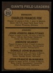 1973 Topps #252 ORG Giants Leaders  -  Charlie Fox / Joe Amalfitano / Andy Gilbert / Don McMahon / John McNamara Back Thumbnail