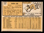 1963 Topps #372 ERR  Don Lee Back Thumbnail