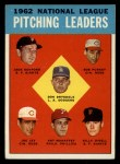 1963 Topps #7  1962 NL Pitching Leaders  -  Don Drysdale / Joe Jay / Art Mahaffey / Billy O'Dell / Bob Purkey / Jack Sanford Front Thumbnail