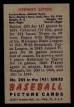 1951 Bowman #285  John Lipon  Back Thumbnail