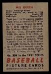 1951 Bowman #309  Mel Queen  Back Thumbnail