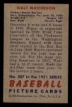 1951 Bowman #307  Walt Masterson  Back Thumbnail