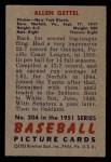 1951 Bowman #304  Allen Gettell  Back Thumbnail
