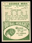 1968 Topps #9  George Mira  Back Thumbnail