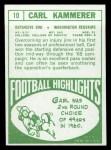 1968 Topps #10   Carl Kammerer Back Thumbnail