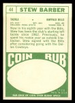1968 Topps #44   Stew Barber Back Thumbnail