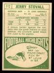 1968 Topps #112  Jerry Stovall  Back Thumbnail