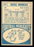 1968 Topps #144  Doug Moreau  Back Thumbnail