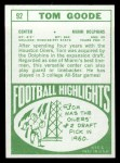 1968 Topps #92   Tom Goode Back Thumbnail