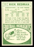 1968 Topps #115   Rick Redman Back Thumbnail