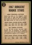1967 Topps #12   Dodgers Rookie Stars  -  Jim Campanis / Bill Singer Back Thumbnail