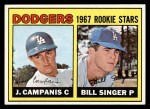 1967 Topps #12  Dodgers Rookies  -  Jim Campanis / Bill Singer Front Thumbnail