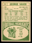 1968 Topps #13   George Sauer Back Thumbnail