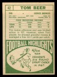 1968 Topps #42   Tom Beer Back Thumbnail