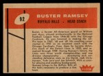 1960 Fleer #92   Buster Ramsey Back Thumbnail