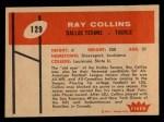 1960 Fleer #129   Ray Collins Back Thumbnail