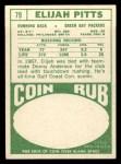 1968 Topps #79   Elijah Pitts Back Thumbnail