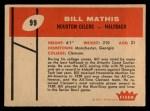 1960 Fleer #99   Bill Mathis Back Thumbnail