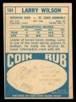 1968 Topps #164   Larry Wilson Back Thumbnail