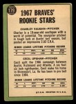 1967 Topps #179  Braves Rookies  -  Cecil Upshaw / Charles Vaughan Back Thumbnail