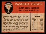 1961 Fleer #42  Harry Heilman  Back Thumbnail