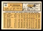 1963 Topps #100   Joe Cunningham Back Thumbnail