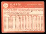 1964 Topps #534  Gus Bell  Back Thumbnail
