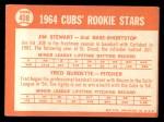 1964 Topps #408   Cubs Rookie Stars  -  Jim Stewart / Fred Burdette Back Thumbnail