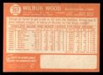 1964 Topps #267   Wilbur Wood Back Thumbnail