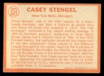 1964 Topps #324   Casey Stengel Back Thumbnail