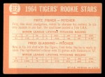 1964 Topps #312   Tigers Rookie Stars  -  Fritz Fisher / Fred Gladding Back Thumbnail