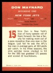 1963 Fleer #15   Don Maynard Back Thumbnail