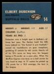 1962 Fleer #14   Elbert Dubenion Back Thumbnail