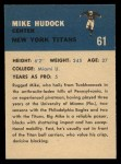 1962 Fleer #61  Mike Hudock  Back Thumbnail