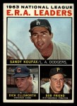 1964 Topps #1   -  Sandy Koufax / Bob Friend / Dick Ellsworth NL ERA Leaders Front Thumbnail