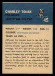 1962 Fleer #45  Charles Tolar  Back Thumbnail